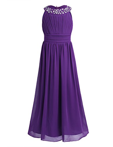 iEFiEL Girls Chiffon Sleeveless Pageant Prom Party Wedding Bridesmaid Flower Girl Dress Purple 14