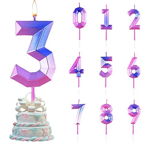 Candele di Compleanno Numbero,Numero Candele di Compleanno Glitter,Candele Torta Compleanno, per Feste di Anniversario di Matrimonio, Serate di Laurea (3)