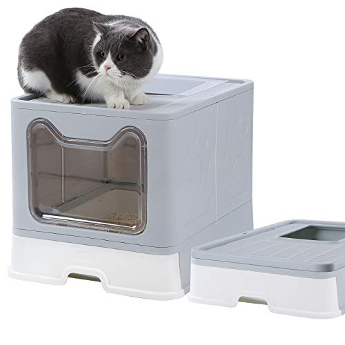 Dymoll Large Cat Litter Box, Foldable Top Entry Litter Box with Lid ,Easy Clean No Smell Pet Kitty Litter Box…