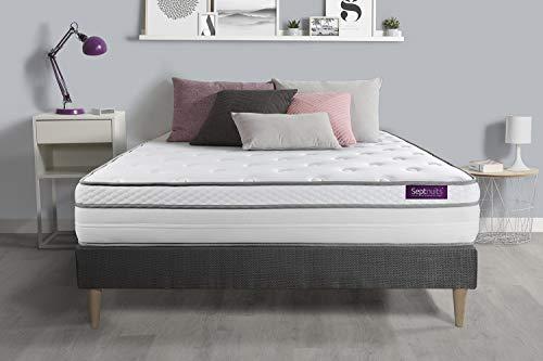 Matelas + sommier kit Gris 160x200 Memo Luxe Ressorts ensachés + mémoire de Forme Maxi épaisseur | Epaisseur : 26 cm | Confort : Equilibré