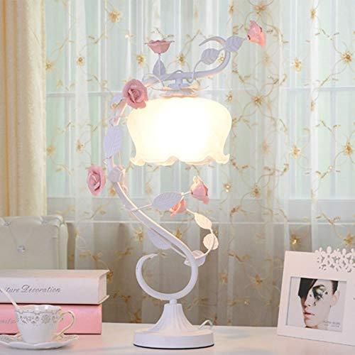 FHUA Lámpara Escritorio Lámpara de Hierro de cerámica Lámpara de Rosa Luces Regalos de Boda Romántico Pastoral Princess Lámpara de Noche (30 * 54cm)