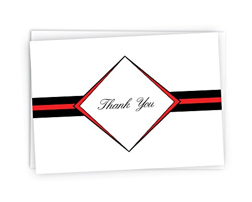 Diamond Thank You Cards - 48 Cards & Envelopes (Red)
