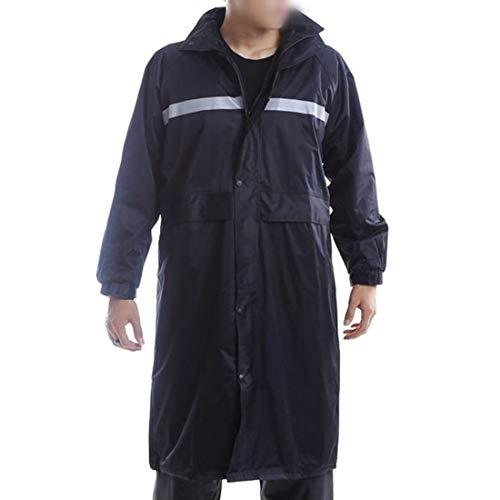 Dinglihuaqu Bestand tegen de douche tegen regen en wind, veilig voor wandelen, jafang en veiligheid, marineblauw, windjack voor mannen, reflecterende lange siamese regenjas voor buiten 4XL