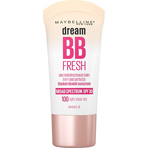 MAYBELLINE Dream Fresh Skin Hydrating BB cream, 8-in-1 Skin Perfecting Beauty Balm with Broad Spectrum SPF 30, Sheer Tint Coverage, Oil-Free, Light, 1 Fl Oz