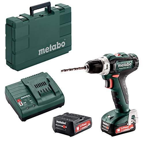 Metabo 601036500 Akku-Bohrschrauber klein PowerMaxx BS 12  12V, 2x 2Ah Li-Ion Akkus, inklu. Ladegerät, im Koffer, max. Drehmoment: 17Nm (weich)/ 40Nm (hart), Bohr-Ø: 10mm (Stahl)/ 18mm (Weichholz)