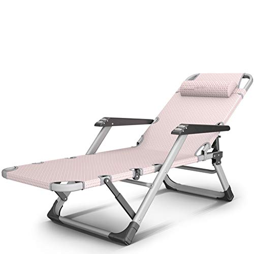 Qz Klappstuhl campingstühle gartenstuhl Folding Beach Chair for Patio Rasen Balkon, Metall, Schwarz, Rosa breite große Stühle for Heavy Duty, 200KG (Color : Pink)