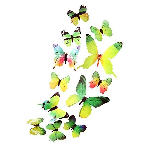 LPxdywlk Innenwandaufkleber 3D Gradient Butterfly Wing Faltbarer Aufkleber Außendekoration Grün