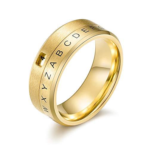Simpele ring van wolfraam voor mannen mode voor vrouwen met letters goud trend punk hip hop draaien creatieve cadeauliefhebbers vintage 9