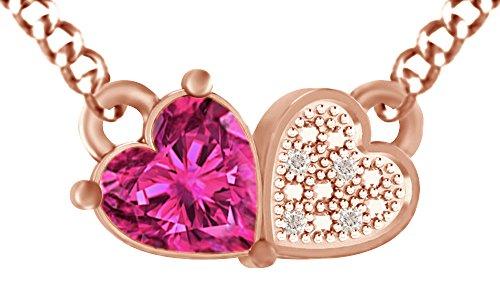 925Sterling Silber Simuliert Ruby & Zirkonia weiß Love Herz Anhänger Halskette für Frauen Mädchen (18Rose Vergoldet)