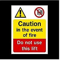 車のステッカー BY WYZDGTD 火災に注意してくださいエレベーターサインデカール2個20X15センチメートルを使用しないでください