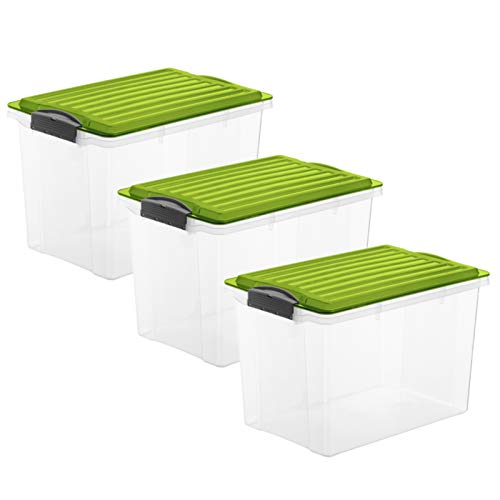 Rotho Compact 3er-Set Aufbewahrungsbox Deckel, Kunststoff (PP) BPA-frei, grün/transparent, 3 x 19l, (40 x 28 x 27 cm), 3