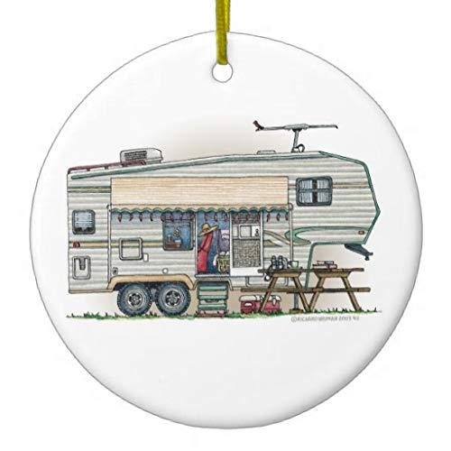 happygoluck1y Cute Rv Vintage Fifth Wheel Camper Travel Trailer Ceramic Christmas Tree Ornaments,2020 Christmas Ornaments,Christmas Memory Keepsake Ornament,for Kids,Girls,Women,3' Double Sided Print