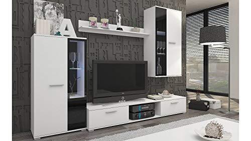 Möbel Akut Wohnwand Anbauwand weiß matt und schwarz Wohnzimmer Wohnkombination Salsas 235 cm