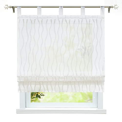 ESLIR Raffrollo mit Schlaufen Halbtransparente Küche Gardinen Landhaus Raffgardine Weiß Schlaufenrollo mit Wellenblume BxH 120x140cm1 Stück