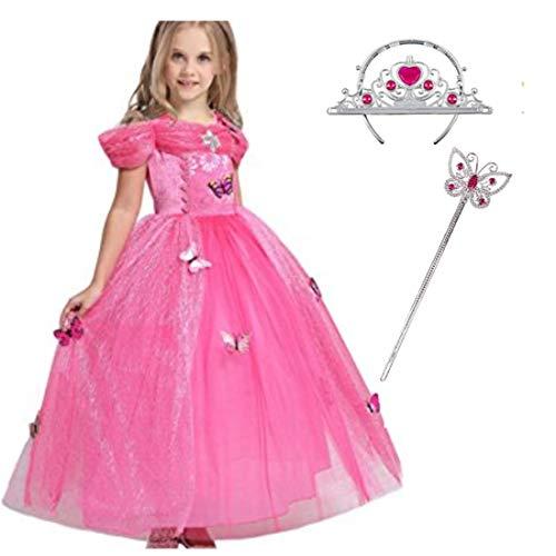 LiUiMiY Vestito Principessa Bambina Carnevale, Abito Costume Bambini Giallo Manica Corta Invernale Halloween Natale, Rosa, 116-122 (etichetta 120)