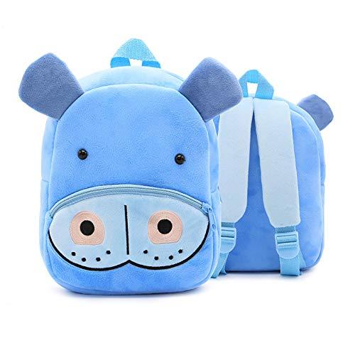 YFBB Zoo Niedlicher Kleinkind-Kinder-Rucksack, niedlicher Plüsch-Rucksack für kleine Mädchen und Jungen, 1–6 Jahre, Nilpferd