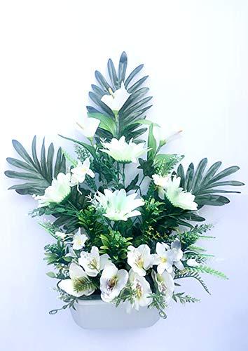 通用 Centro de Flores Artificiales para Cementerio e Iglesia. (Blaco)