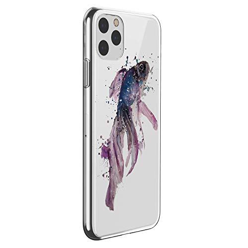 Suhctup Case Compatible con iPhone 11 Pro Funda Transparente Suave Silicona TPU Bumper Cárcasa Dibujos Animales Diseño Ultra Delgada Antigolpes de Protector Piel Cover,Carpa Morada
