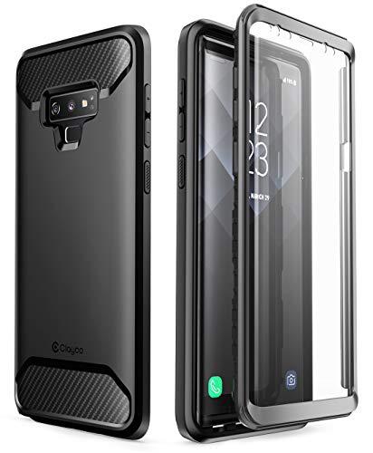 Clayco Samsung Galaxy Note 9 Hülle [Xenon], Robust Hülle Ganzkörper Handyhülle, Bumper Schutzhülle Cover mit Integriertem Bildschirmschutz für Samsung Galaxy Note 9, Schwarz