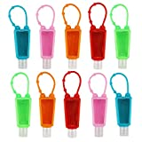 LONGWAY 10 Pack Empty Portable Travel Bottles Keychain Carriers with Silicone Case Leak Proof Flip Cap Refillable Travel Containers for Cleaning Hand Sanitizer, Liquid Soap (10-Variety Pack MIXED)
