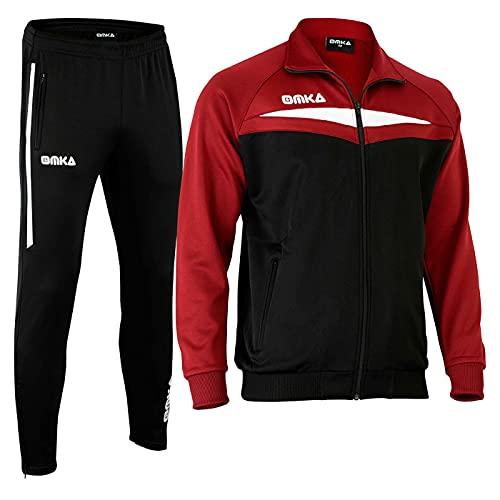 OMKA Trainingsanzug Sportanzug Jogginganzug Freizeitanzug in der 5X Farben, Größe:XL, Farbe:Weinrot