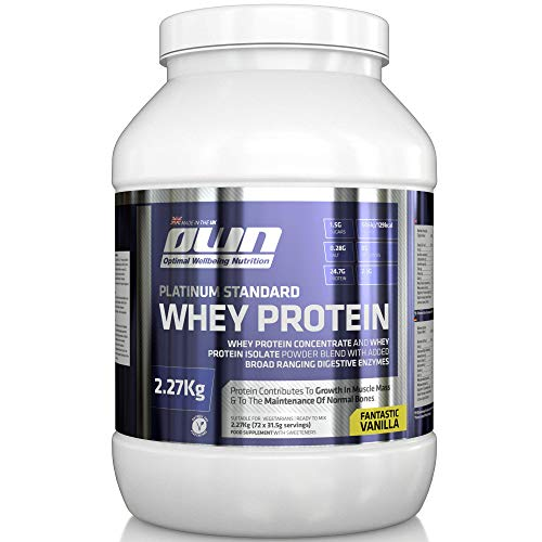 OWN - Platinum Standard Whey Protein Muscle Building Supplement with Glutamine and Amino Acids, Vanilla Flavour, 2.27kg