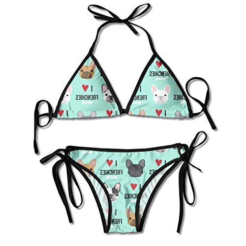 Blue Heart Dog Cute Funny French Bulldog Fawn Women's Sexy Halter Top Bikini Swimsuit Two Piece Bathing Suits Novelty Themed Printed