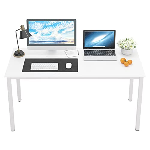 DlandHome 55 inches Large Computer Desk, Composite Wood Board, Decent and Steady Home Office Desk/Workstation/Table, BS1-140WW White and White Legs, 1 Pack