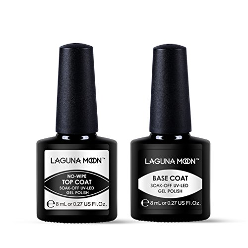 Lagunamoon Base Coat y Top Coat Semipermanentes, 2pcs Kit de Uñas de gel UV LED, Esmaltes Semipermanentes Set de Regalo para Manicura y Pedicura
