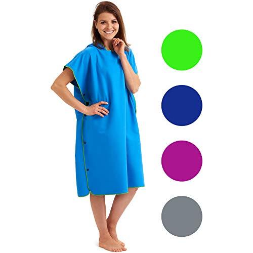 Fit-Flip Surf Poncho – Kapuzenhandtuch, Poncho zum umziehen, Tuch mit Kapuze, Umkleidemantel – Größe L, blau/grün