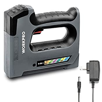 WORKPRO 6 in 1 Cordless Staple Gun 3.6V Rechargeable Electric Stapler Charger Included Staples Excluded