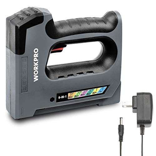 WORKPRO 6 in 1 Cordless Staple Gun, 3.6V Rechargeable Electric Stapler, Charger Included, Staples Excluded