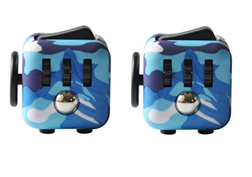Am Bulan 2 Pack Toy Fidget Dice Cube - Two Fun Blue Camo Fidget Blocks - ADD Stress OCD and ADHD Reduction