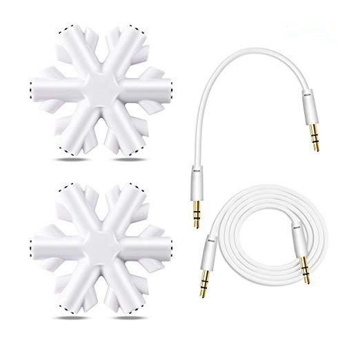 Adaptador de Auriculares, AMIGIK Divisor de Conector 5 vías, Jack de 3,5 mm Copo de Nieve - Compartición de música del duplicador Auriculares para teléfono móvil Tablet PC MP3/MP4 (Paquete de 2)