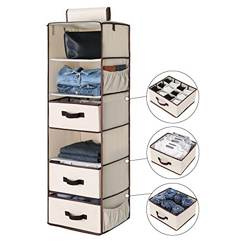 "StorageWorks 6Shelf Hanging Closet Shelves Hanging Closet Organizer with 2 Drawers and 1 Underwear Drawer Canvas Beige 136""W x 122""D x 425""H"