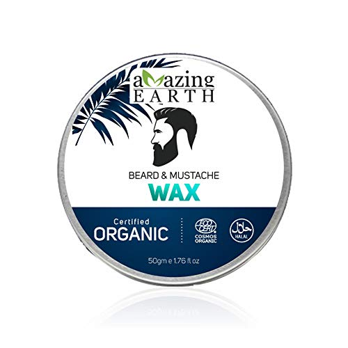 AMAzing EARTH Beard & Mustache Wax for Men - Certified Organic, Strong Hold, Styling, No Minerals, Chemical-Free, Shea Butter, 100% Vegan & Cruelty Free - 50gm