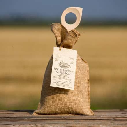 Rijst Carnaroli in jutezak, band en pollepel - 1 kg