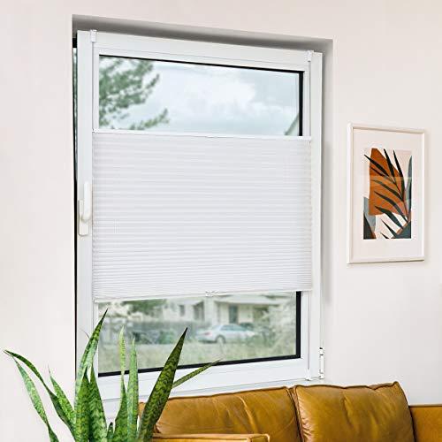 Bernice Plissee klemmfix ohne Bohren, Weiß 60x180cm(BxH) Easyfix Faltrollo mit Klemmträger, Crushed Optik Fensterrollo, Blendschutz Plisseerollo für Fenster & Tür