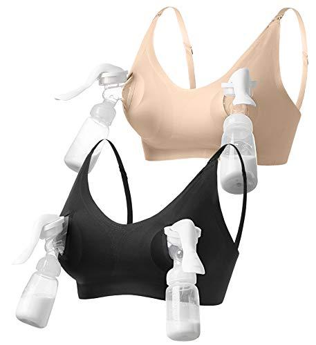 HOFISH 3-in-1 Hands Free Pumping Bra, Maternity Nursing Bras & Everyday Bra BlackBeige M