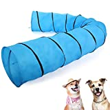 JAXPETY 16.4'L Collapsible Pet Dog Agility Training Tunnel Outdoor Exercise Equipment for Puppies, Cats, Kittens and Rabbits, Carry Bag, Blue