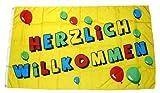 Fahne / Flagge Herzlich Willkommen 90 x 150 cm Fahnen Flaggen