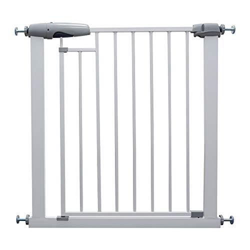 Callowesse FREEDOM Tür- / Treppenschutzgitter 76-83cm - Innovatives Schließsystem mit 2 Magnetschlössern. Höhe: 76cm. Selbstschließendes System. Einhändige Öffnung. (Farbe: Weiß)