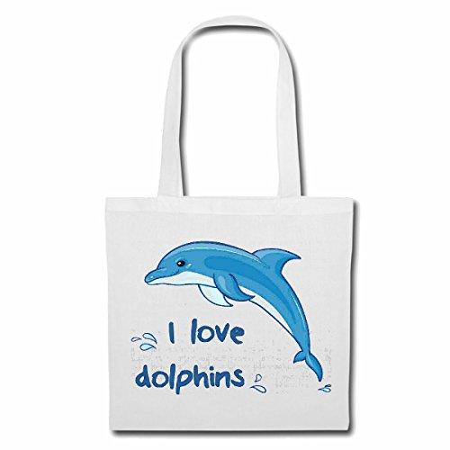 Bolsillo Bolso Bolsa AMO DELFÍN DELFÍN FLIPPER mediterráneo océano dophin Bolsa de deporte Bolsas de Blanco