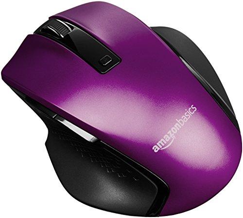 Amazon Basics - Ergonomische kabellose Maus mit Schnell-Scrolling, kompakte Größe - Violett