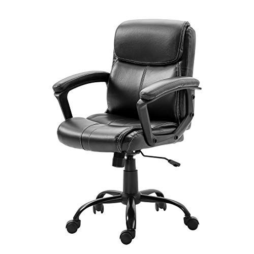 Seatingplus Mid-Back Computer Task Office Chair, Ergonomic Lumbar Support Leather Desk Chair for Small People or Children (Black)