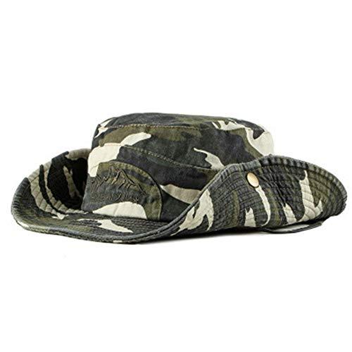 Sombrero Estampado De Camuflaje del Ejército de ala Ancha Borde Redondo Anti-UV Algodón Outdoor Acampada Senderismo Deporte al Aire Libre Gorra Montaña para Adulto Unisex