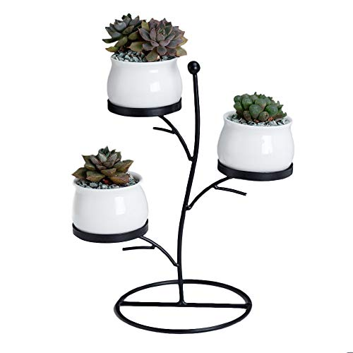 Tree Tier Iron Rack for 3 White Round Ceramic Flower Pots