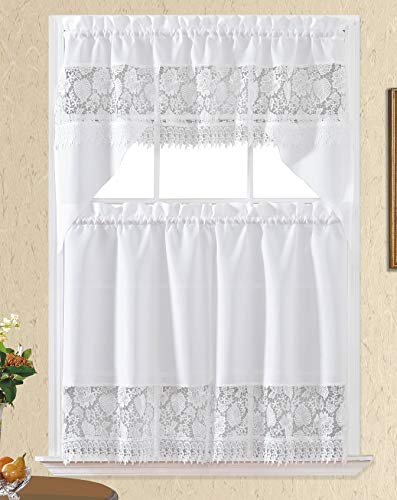 3pc Rod Pocket Embroidered Kitchen Curtains and Valances Set Swag Curtains & Tier Set 36 Inch Length Floral Fruit Designs Many Colors( BT366-WHITE)