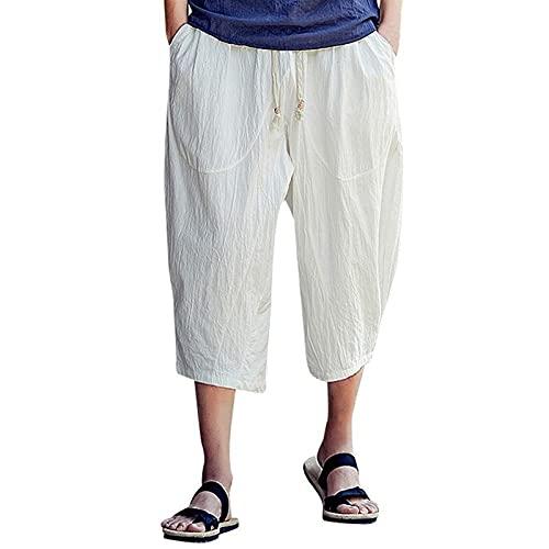 joyvio Pantalones Cortos Sueltos de Lino de algodón para Hombre 3/4 Verano Casual Boho Pantalones Cortos Largos Cintura elástica Pierna Ancha Playa Pantalones de Yoga (Color : White, Size : L)
