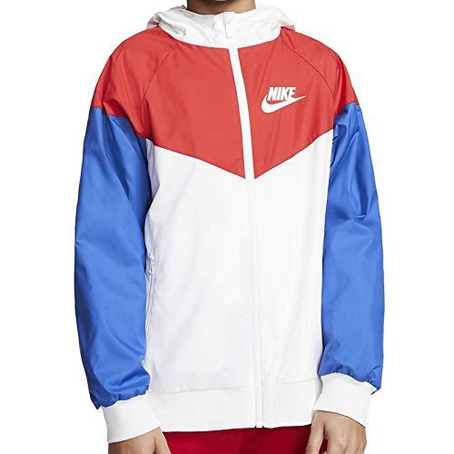 Nike Windrunner Kapuzenjacke für Jungen, Sportkleidung, 850443-107 - Weiß - Large